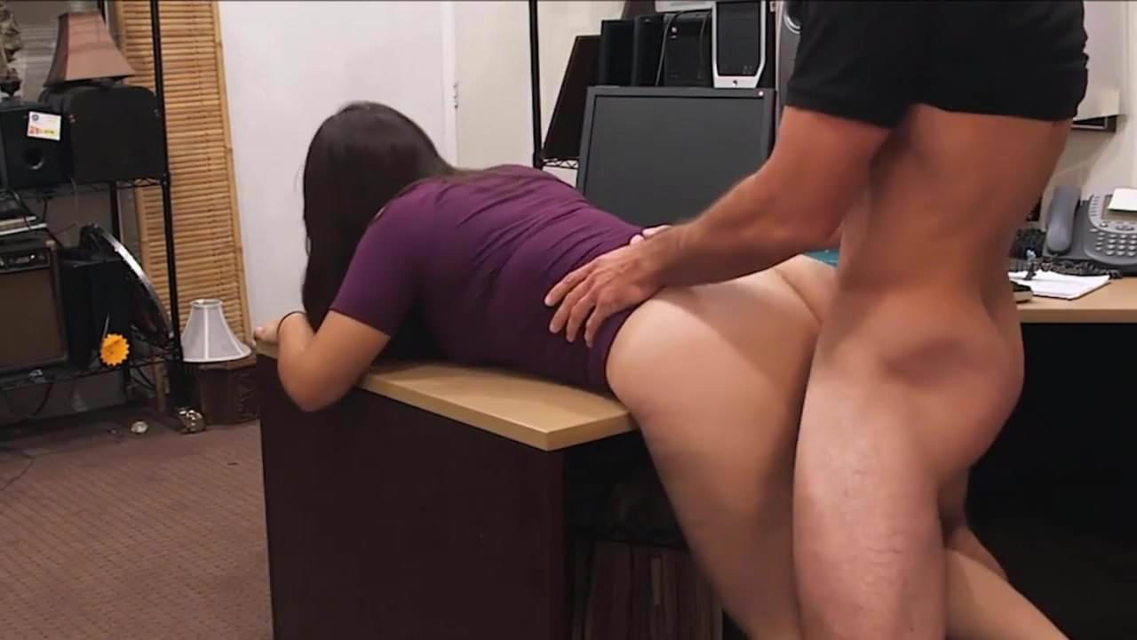Doggy style fuck over the kitchen desk best sex and