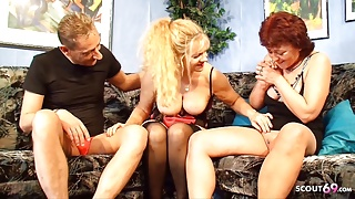 German Big Tits Mature Seduces Real Couple to Fuck