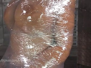 Plastic wrap bondage feet Milf blowjob in plastic wrap