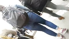 two girls with delicious big ass in tight jeans.