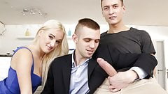 Bisex threesome with a big cocked masseur