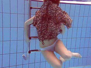 Beach bikini mom pool poolside suntan swimsuit Matrosova hot ginger pussy in the pool