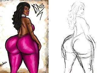 Illustrated use of vibrator - Big booty cherokee d ass illustration