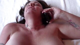Step Mommy Gets Dick while on the Phone with Dad