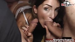 Slut gets fucked hard with sperm in pussy, hot creampie