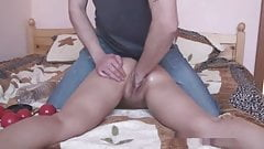 huge objects, 1.5l bottle in tiny girl and final cum shot