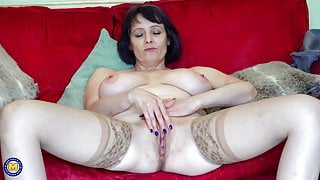 Aged step mom with big natural breast
