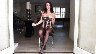 Leggy MILF Vivian panty stuffing and masturbation