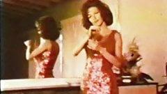 Vintage sparkly dress striptease