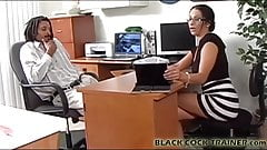 Sit in the corner and watch while I sit on a big black cock