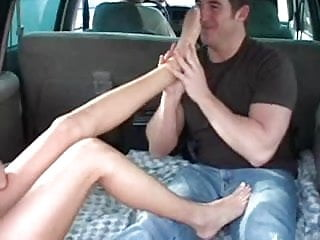 Young boys sock sneaker fetish Footjob in minivan pink sneakers