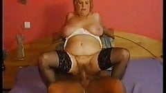 Stockings on chubby granny that wants cock