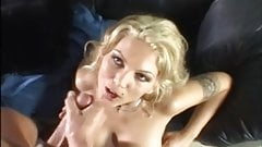 Thick load of cum on face and leather sofa