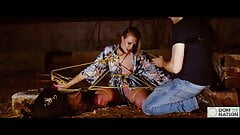Bound blonde get throat fingering and painful nipple caning