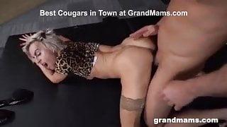 Granny Sanny in nylon fucked by young guy