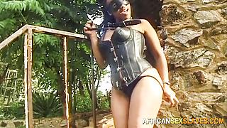 Ebony Slut Restrained for Outdoor Bondage Punishment