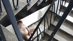 Kinky boy Greg jerks off and cums on the stairs