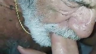 Bearded grandpa sucking his buddy daddy