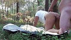 Big ass wife fuck in forest. Swedish mature outdoor sex.