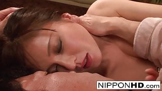 Busty Japanese babe has her pussy teased