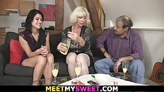 Old couple with teen do oral 69 and old cock riding