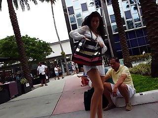 Romper zipper sexy - Candid voyeur beautiful teen in white romper nice feet