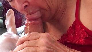 Grandma sucks in red