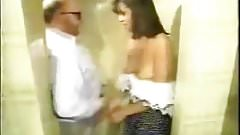 young waitress apologizes and sucks old man in public toilet