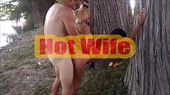 HOT WIFE - watching couple fucking outdoor.