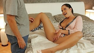 DADDY4K. brunette gets revenge on BF by having sex with his stepdad