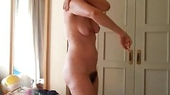 Mature ass MILF with hairy cunt and natural tits