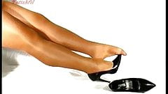 Black patent and shiny legs