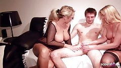 STEPMOM and AUNT Teach Young VIRGIN BOY how to Fuck in 3Some