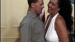 B-cup black chick gives toned dude long wet blowjob and gets fucked