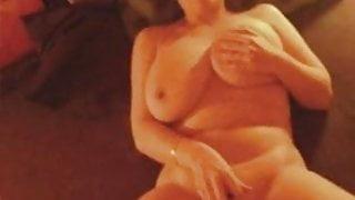 Busty amateur wife fucks herself hard with dildo