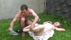 Old slut outside fuck
