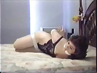 Barefoot bondage hogtie Cute barefoot girl luxuriates in hogtie