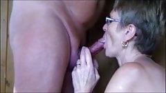 Granny with glasses slow blowjob
