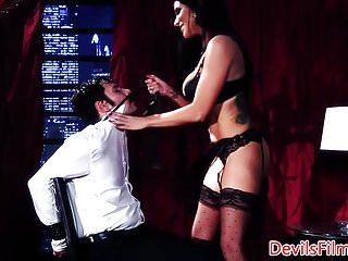 Lingerie seduction dom pic - Busty dom babe facefucked after cockriding