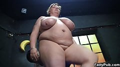 Fat girl rides his horny boner