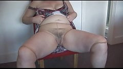 Granny Rips Her Pantyhose