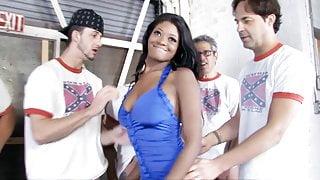Ebony Jenna Brooks Enjoys Gangbang With White Dicks
