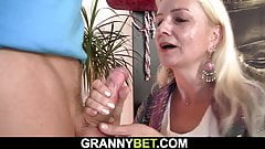 Blonde skinny granny rides his big dick