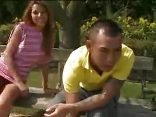 Busty brunette park fuck Secret fuck in a park