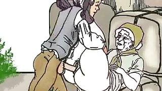 Guy fucks granny on the bales! Porn cartoon