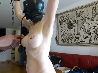 Live fish in pussy - Slave is punished with fish hooks in tits