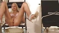 Sexy blonde gets her pussy inspected and treated by three