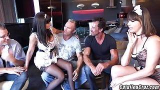 Dana Dearmond face fucking 4 cocks with Catalina Cruz