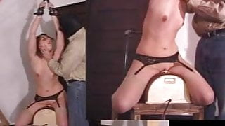 Blond slave girl rides sybian