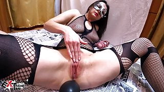 Hot Wife in Mesh Clothes Hard Fisting and Play Pussy Inflata